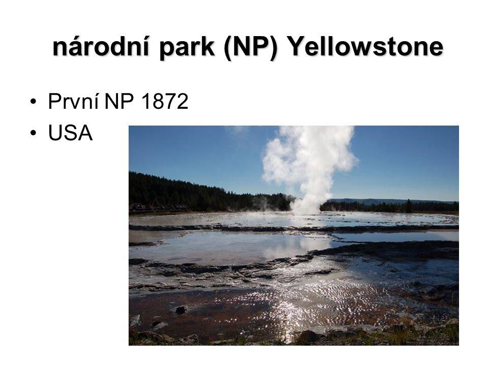 národní park (NP) Yellowstone národní park (NP) Yellowstone První NP 1872 USA