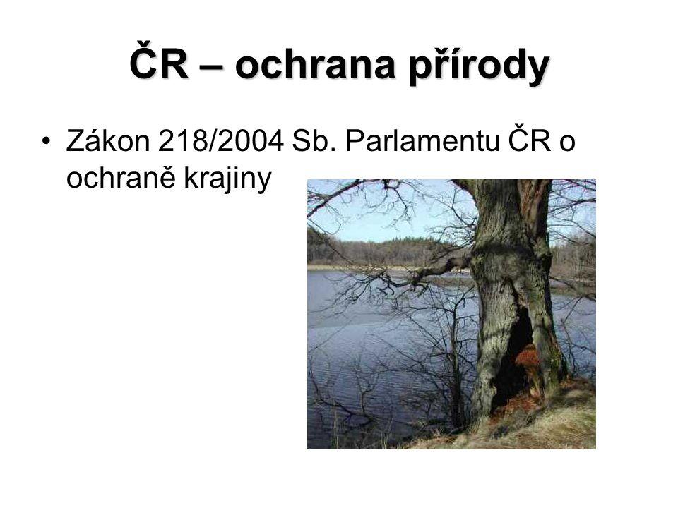 ČR – ochrana přírody Zákon 218/2004 Sb. Parlamentu ČR o ochraně krajiny