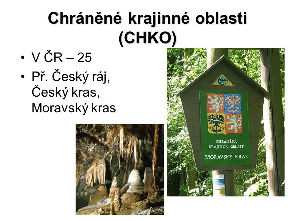 Chráněné krajinné oblasti (CHKO) V ČR – 25 Př. Český ráj, Český kras, Moravský kras