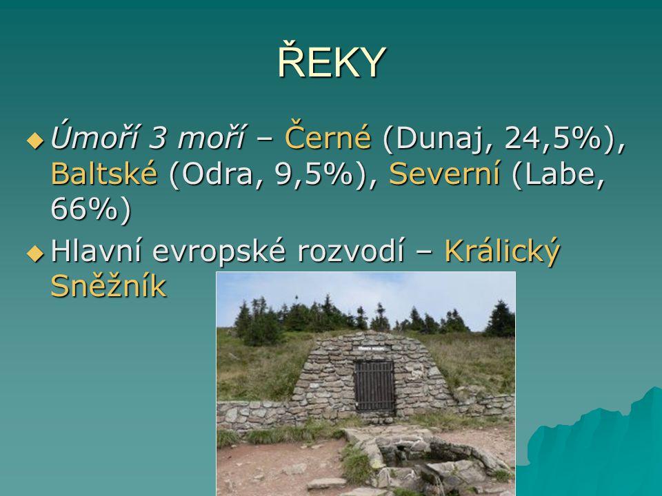 ŘEKY  Úmoří 3 moří – Černé (Dunaj, 24,5%), Baltské (Odra, 9,5%), Severní (Labe, 66%)  Hlavní evropské rozvodí – Králický Sněžník