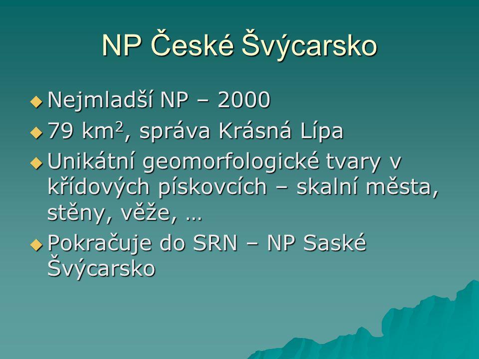 NP České Švýcarsko  Nejmladší NP – 2000  79 km 2, správa Krásná Lípa  Unikátní geomorfologické tvary v křídových pískovcích – skalní města, stěny,