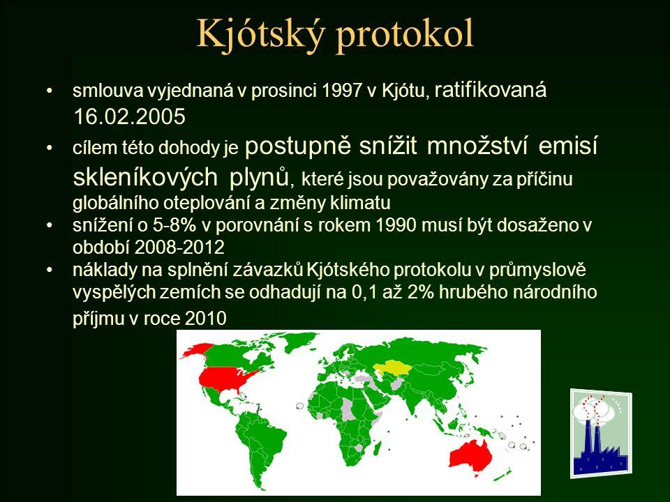 Kjótský protokol smlouva vyjednaná v prosinci 1997 v Kjótu, ratifikovaná 16.02.2005 cílem této dohody je postupně snížit množství emisí skleníkových p