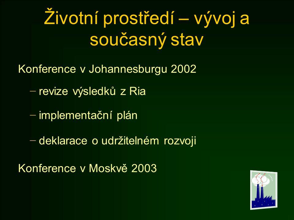 Životní prostředí – vývoj a současný stav Konference v Johannesburgu 2002 − revize výsledků z Ria − implementační plán − deklarace o udržitelném rozvo