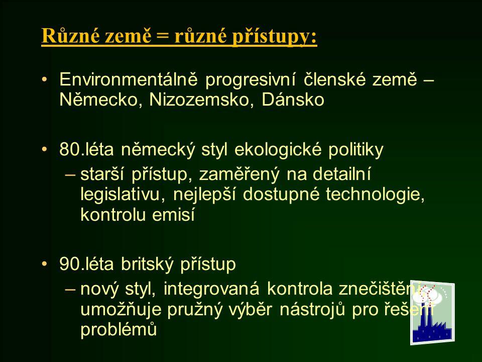 Různé země = různé přístupy: Environmentálně progresivní členské země – Německo, Nizozemsko, Dánsko 80.léta německý styl ekologické politiky –starší p