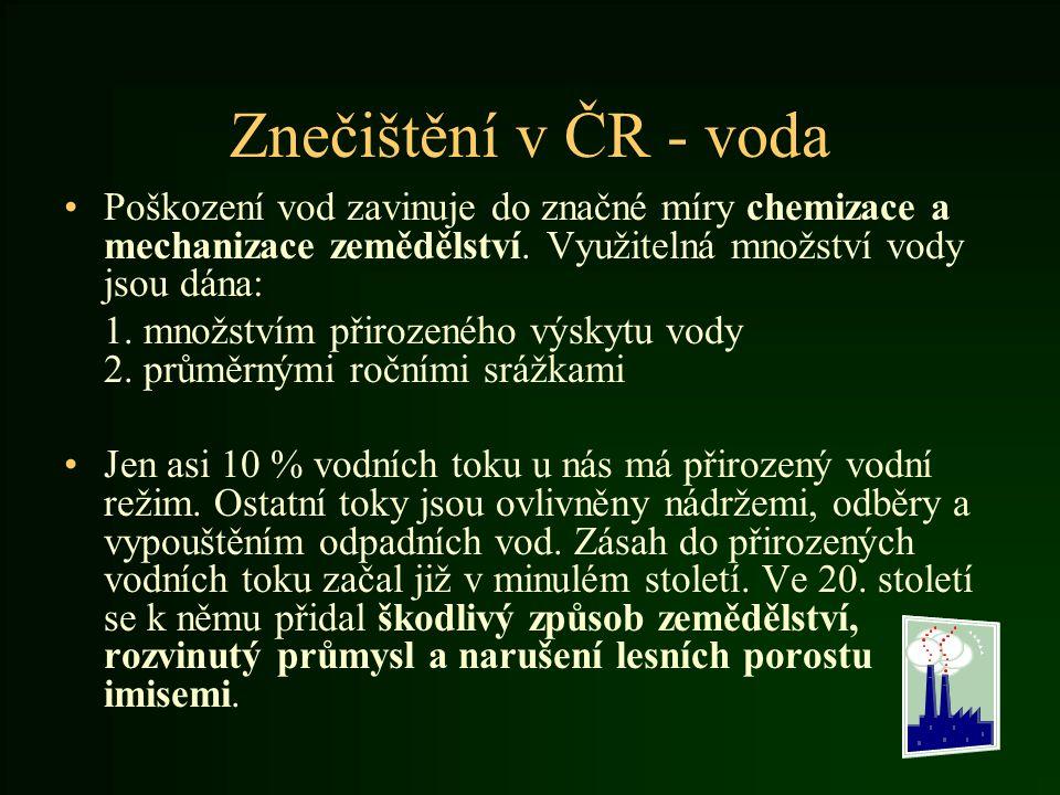 Znečištění v ČR - voda Poškození vod zavinuje do značné míry chemizace a mechanizace zemědělství. Využitelná množství vody jsou dána: 1. množstvím při