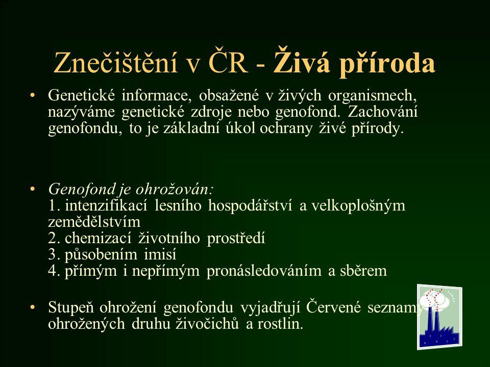 Znečištění v ČR - Živá příroda Genetické informace, obsažené v živých organismech, nazýváme genetické zdroje nebo genofond. Zachování genofondu, to je