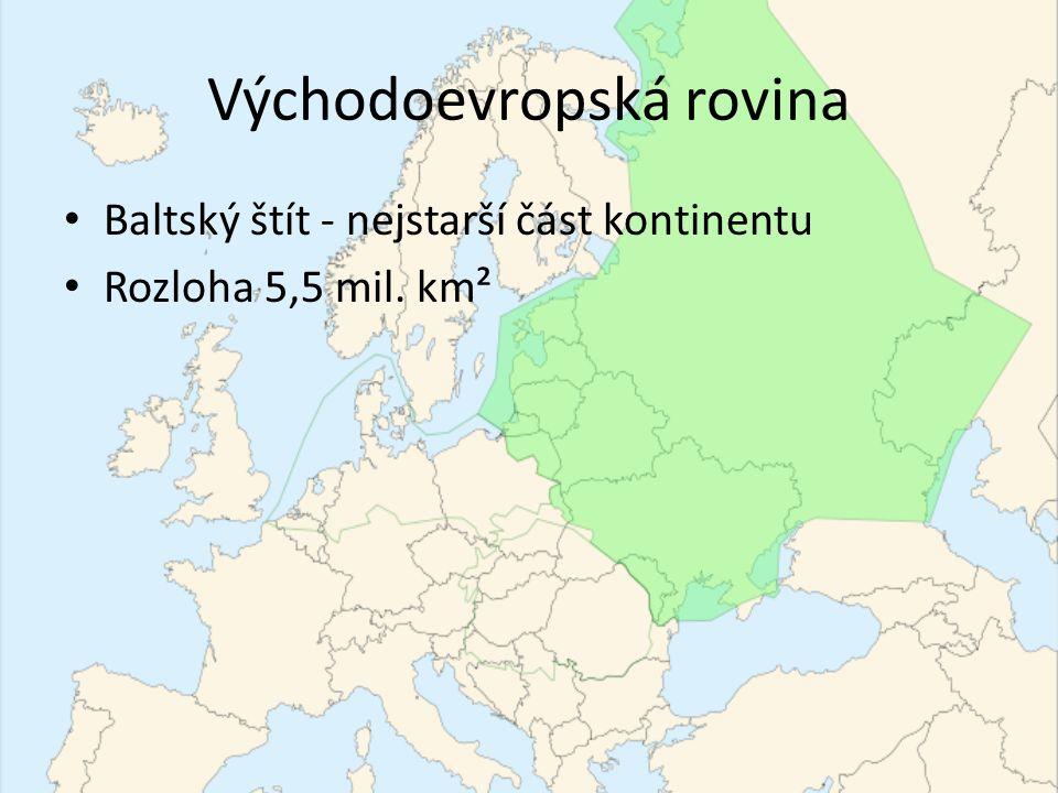 Východoevropská rovina Baltský štít - nejstarší část kontinentu Rozloha 5,5 mil. km²