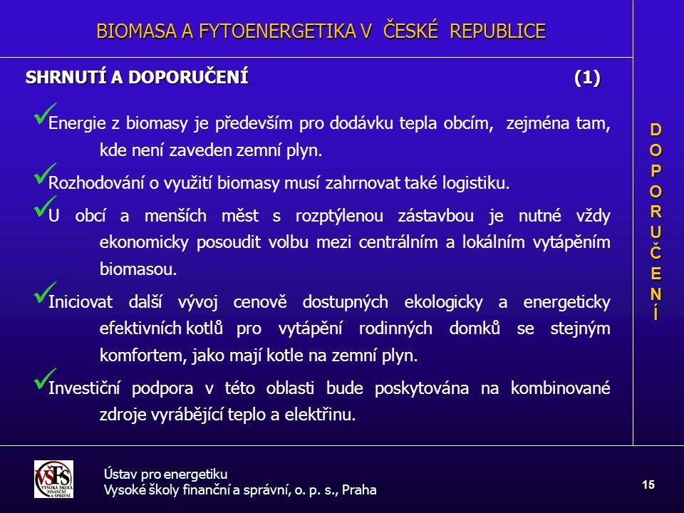 BIOMASA A FYTOENERGETIKA V ČESKÉ REPUBLICE Ústav pro energetiku Vysoké školy finanční a správní, o. p. s., Praha 15 SHRNUTÍ A DOPORUČENÍ (1) DOPORUČEN