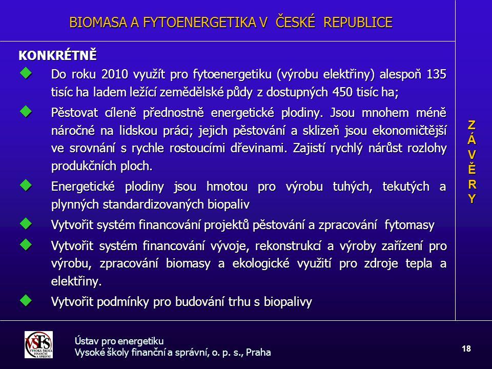 Ústav pro energetiku Vysoké školy finanční a správní, o. p. s., Praha 18 KONKRÉTNĚ  Do roku 2010 využít pro fytoenergetiku (výrobu elektřiny) alespoň