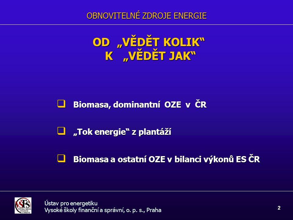 """OBNOVITELNÉ ZDROJE ENERGIE OD """"VĚDĚT KOLIK"""" K """"VĚDĚT JAK"""" K """"VĚDĚT JAK""""  Biomasa, dominantní OZE v ČR  """"Tok energie"""" z plantáží  Biomasa a ostatní"""