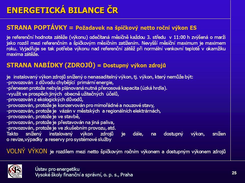 ENERGETICKÁ BILANCE ČR Ústav pro energetiku Vysoké školy finanční a správní, o. p. s., Praha 25 STRANA POPTÁVKY = Požadavek na špičkový netto roční vý