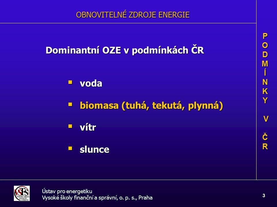 OBNOVITELNÉ ZDROJE ENERGIE Dominantní OZE v podmínkách ČR  voda  biomasa (tuhá, tekutá, plynná)  vítr  slunce Ústav pro energetiku Vysoké školy fi
