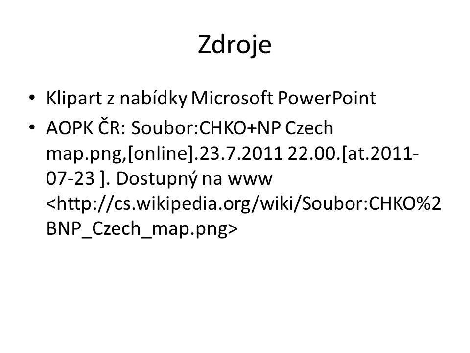 Zdroje Klipart z nabídky Microsoft PowerPoint AOPK ČR: Soubor:CHKO+NP Czech map.png,[online].23.7.2011 22.00.[at.2011- 07-23 ]. Dostupný na www