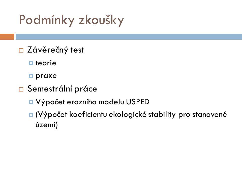 Podmínky zkoušky  Závěrečný test  teorie  praxe  Semestrální práce  Výpočet erozního modelu USPED  (Výpočet koeficientu ekologické stability pro