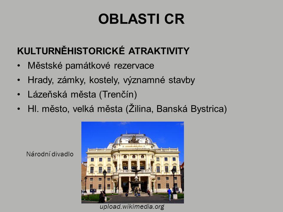 OBLASTI CR KULTURNĚHISTORICKÉ ATRAKTIVITY Městské památkové rezervace Hrady, zámky, kostely, významné stavby Lázeňská města (Trenčín) Hl.
