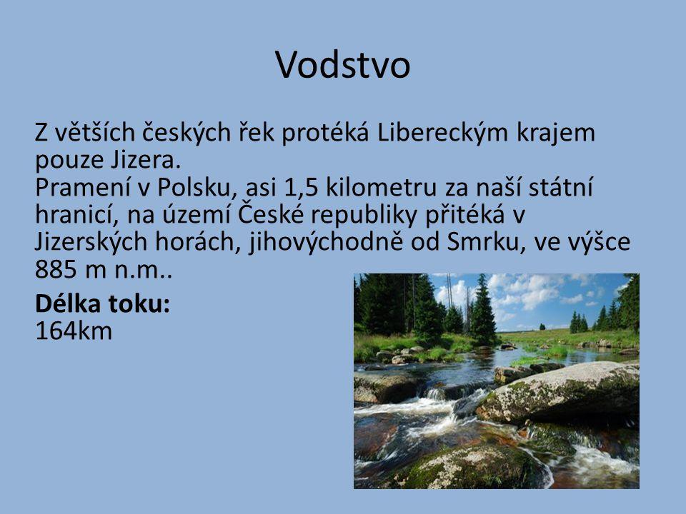 Vodstvo Z větších českých řek protéká Libereckým krajem pouze Jizera.