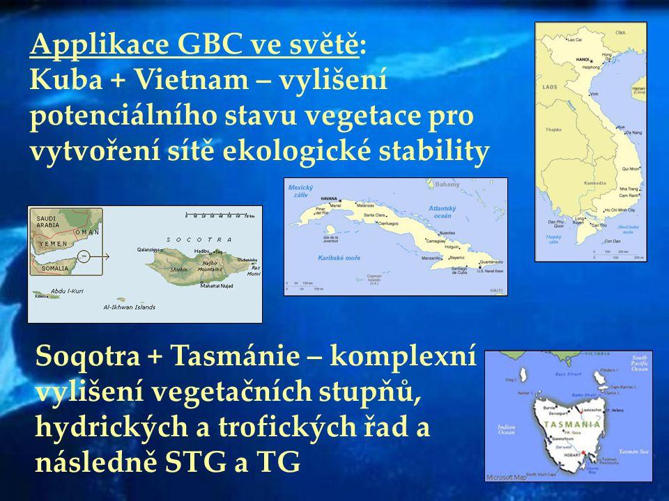 Applikace GBC ve světě: Kuba + Vietnam – vylišení potenciálního stavu vegetace pro vytvoření sítě ekologické stability Soqotra + Tasmánie – komplexní
