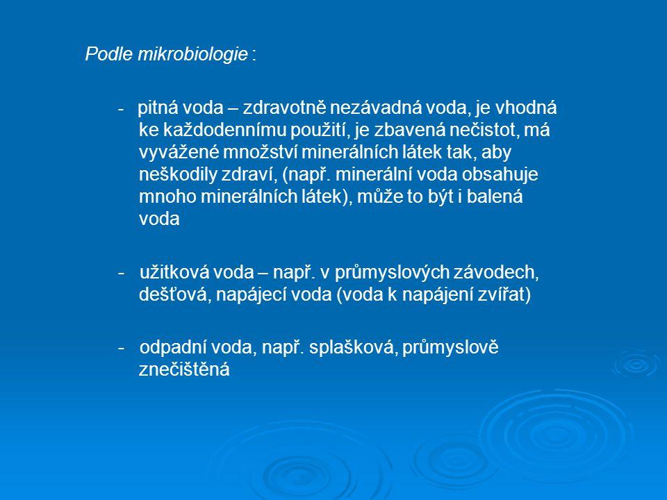 Podle mikrobiologie : - pitná voda – zdravotně nezávadná voda, je vhodná ke každodennímu použití, je zbavená nečistot, má vyvážené množství minerálníc