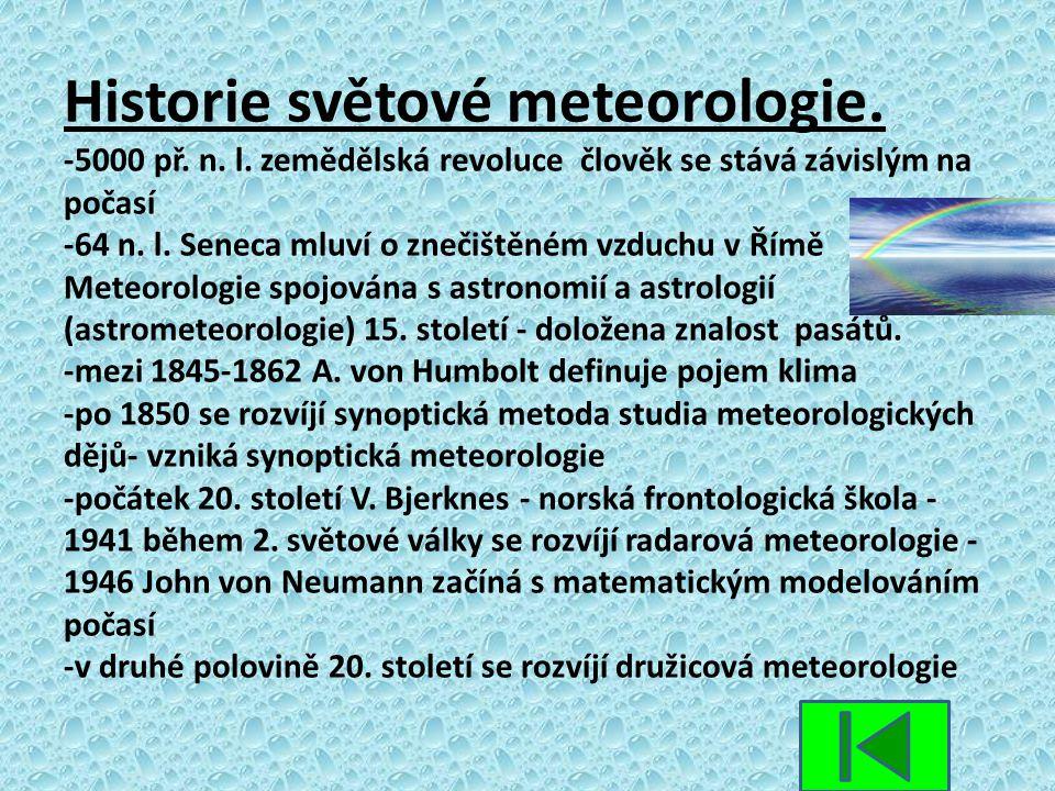 Historie světové meteorologie. -5000 př. n. l. zemědělská revoluce člověk se stává závislým na počasí -64 n. l. Seneca mluví o znečištěném vzduchu v Ř