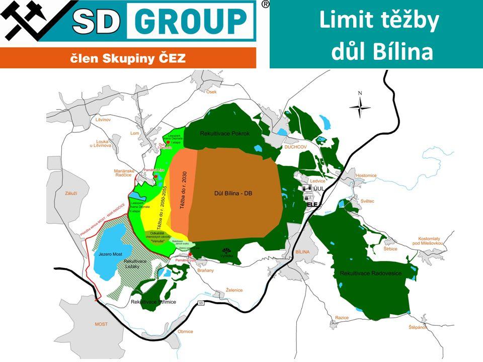 Hranice DP Uhlí Limit těžby důl Bílina