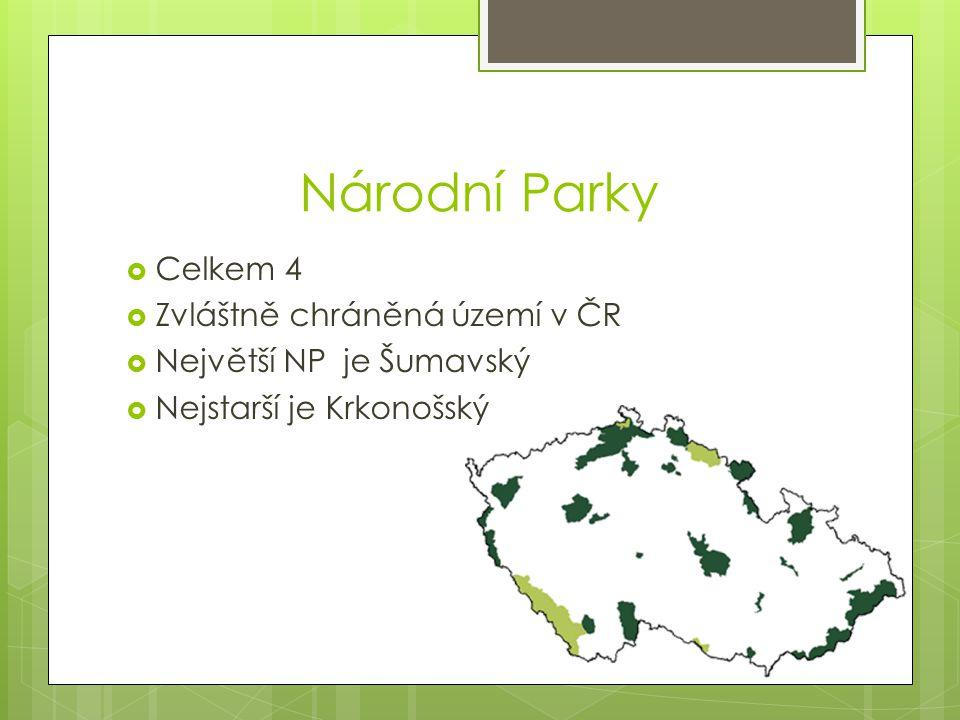 Národní Parky  Celkem 4  Zvláštně chráněná území v ČR  Největší NP je Šumavský  Nejstarší je Krkonošský