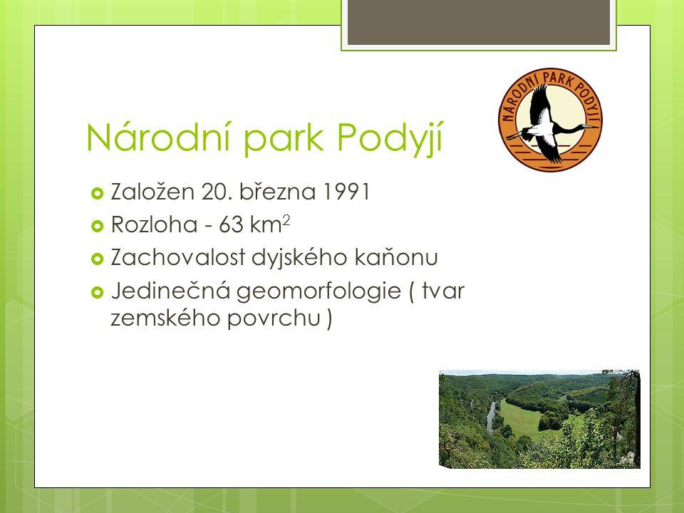 Národní park Podyjí  Založen 20. března 1991  Rozloha - 63 km 2  Zachovalost dyjského kaňonu  Jedinečná geomorfologie ( tvar zemského povrchu )