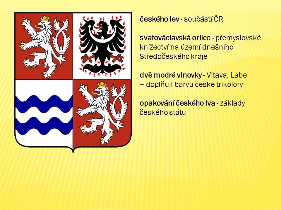 českého lev - součástí ČR svatováclavská orlice - přemyslovské knížectví na území dnešního Středočeského kraje dvě modré vlnovky - Vltava, Labe + dopl