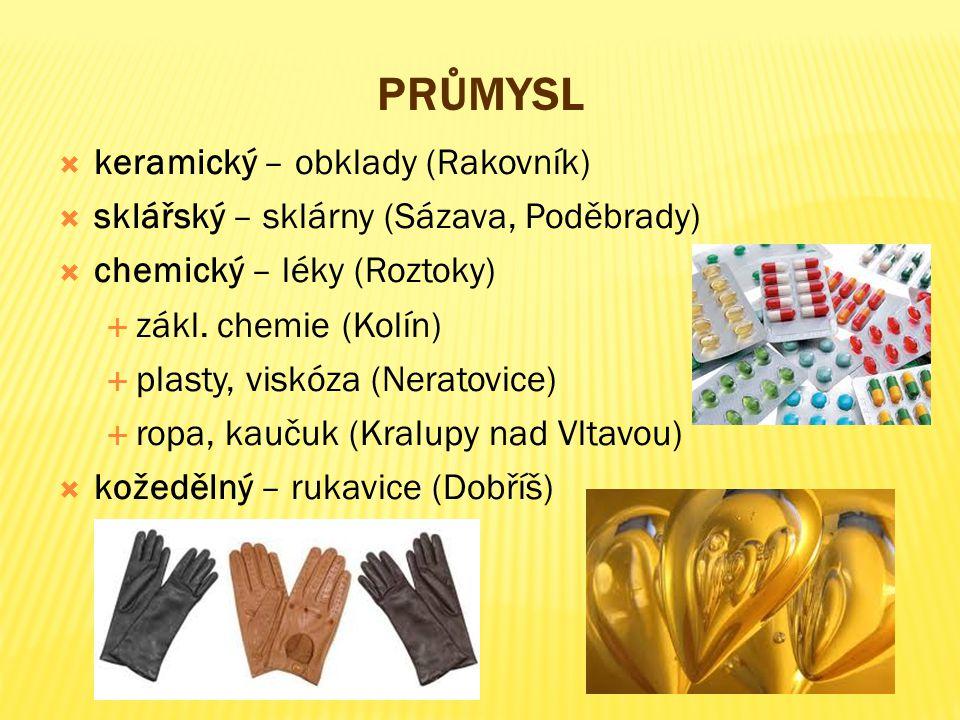 PRŮMYSL  keramický – obklady (Rakovník)  sklářský – sklárny (Sázava, Poděbrady)  chemický – léky (Roztoky)  zákl. chemie (Kolín)  plasty, viskóza