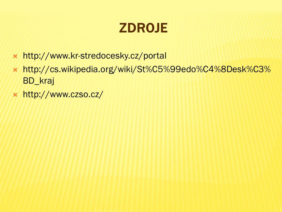ZDROJE  http://www.kr-stredocesky.cz/portal  http://cs.wikipedia.org/wiki/St%C5%99edo%C4%8Desk%C3% BD_kraj  http://www.czso.cz/
