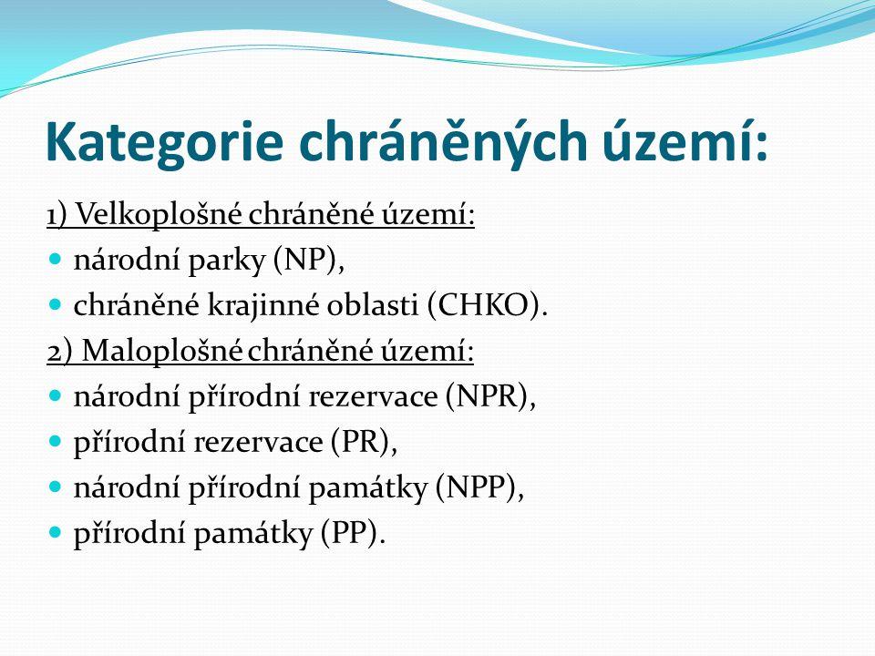 Kategorie chráněných území: 1) Velkoplošné chráněné území: národní parky (NP), chráněné krajinné oblasti (CHKO). 2) Maloplošné chráněné území: národní