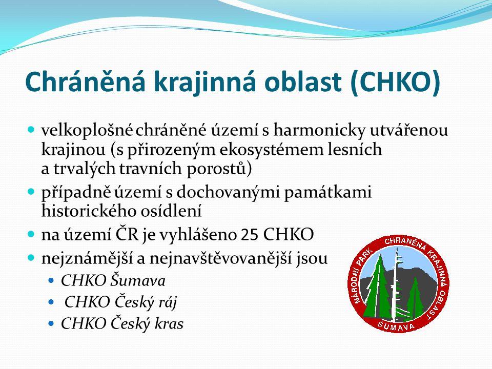Chráněná krajinná oblast (CHKO) velkoplošné chráněné území s harmonicky utvářenou krajinou (s přirozeným ekosystémem lesních a trvalých travních poros
