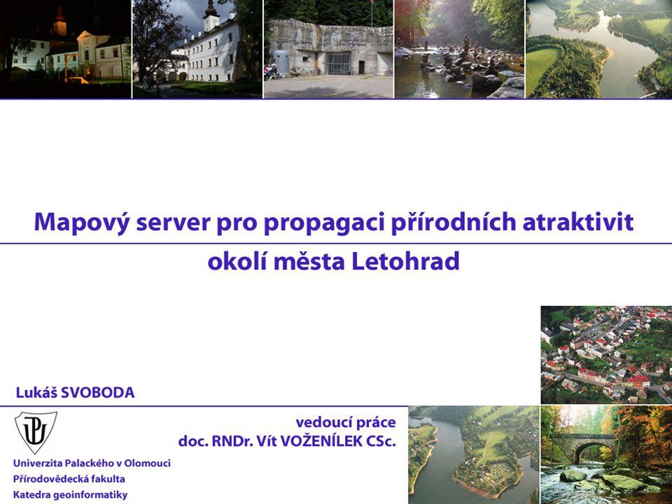 databáze: PostgreSQL správa dat: phpPgAdmin, T-WIST - společná pro webový i mapový server - 18 tabulek, 934 záznamů - 160 přírodních a kulturních atraktivit - databáze umístěna společně mapovým serverem