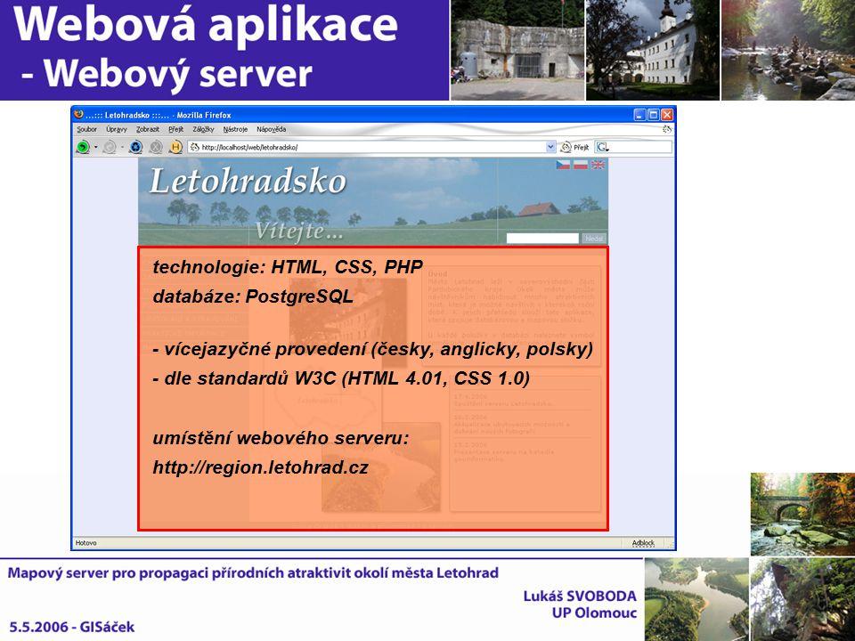 technologie: HTML, CSS, PHP databáze: PostgreSQL - vícejazyčné provedení (česky, anglicky, polsky) - dle standardů W3C (HTML 4.01, CSS 1.0) umístění w