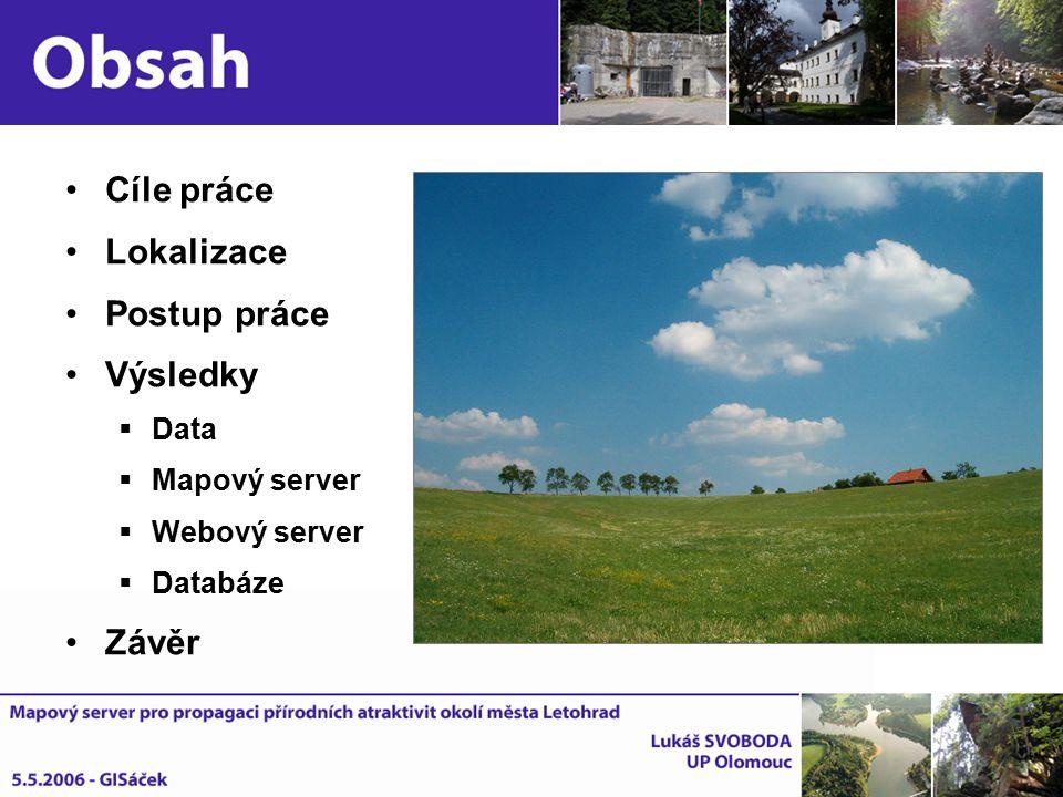 Cíle práce Lokalizace Postup práce Výsledky  Data  Mapový server  Webový server  Databáze Závěr
