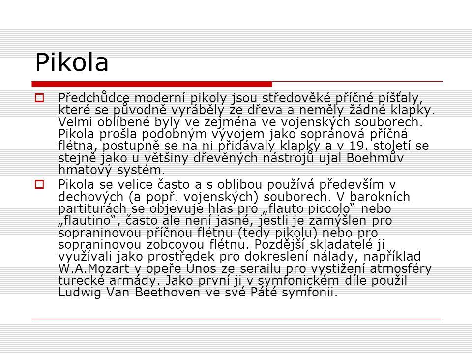 Pikola  Předchůdce moderní pikoly jsou středověké příčné píšťaly, které se původně vyráběly ze dřeva a neměly žádné klapky.