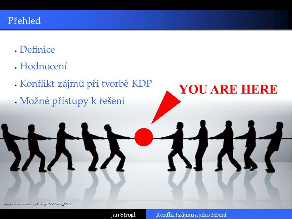 Click to edit Master subtitle style Přehled Konflikt zájmu a jeho řešeníJan Strojil  Definice  Hodnocení  Konflikt zájmů při tvorbě KDP  Možné přístupy k řešení http://www.research.ucdavis.edu/images/OVC/feature_COI.gif YOU ARE HERE