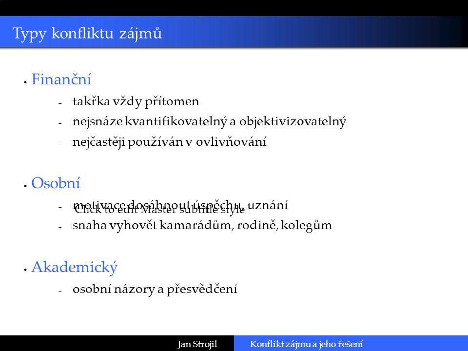 Click to edit Master subtitle style Jan StrojilKonflikt zájmu a jeho řešení Děkuji za pozornost