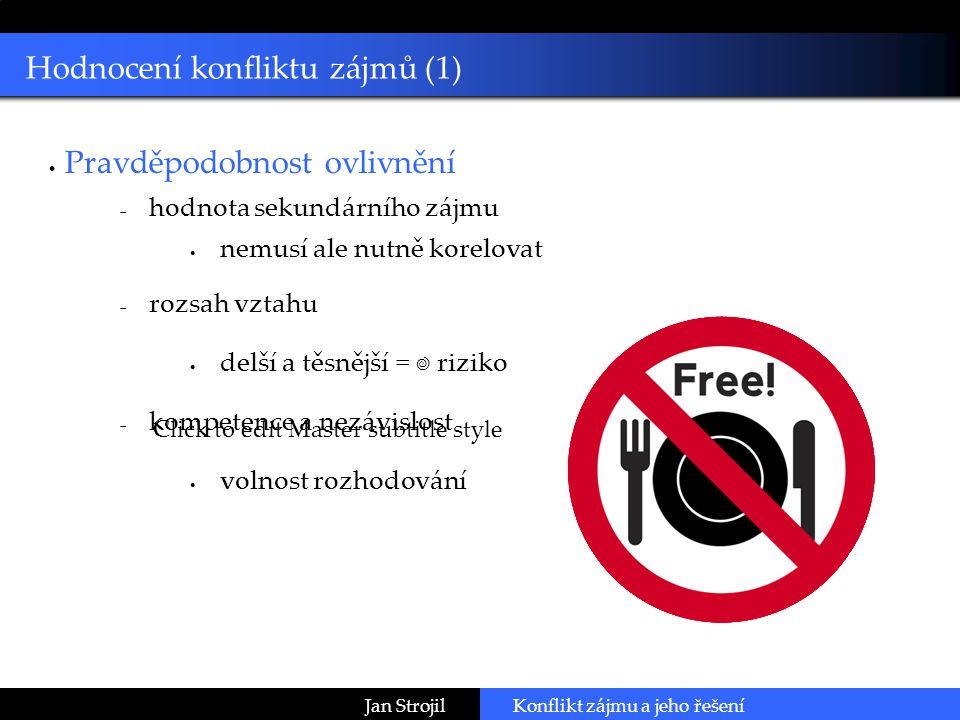 Click to edit Master subtitle style Jan StrojilKonflikt zájmu a jeho řešení