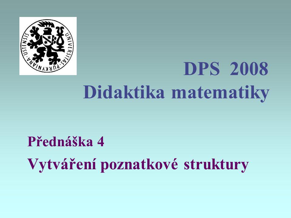 DPS 2008 Didaktika matematiky Přednáška 4 Vytváření poznatkové struktury