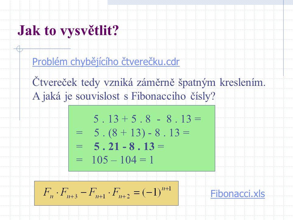 Jak to vysvětlit? 5. 13 + 5. 8 - 8. 13 = = 5. (8 + 13) - 8. 13 = = 5. 21 - 8. 13 = = 105 – 104 = 1 Fibonacci.xls Problém chybějícího čtverečku.cdr Čtv