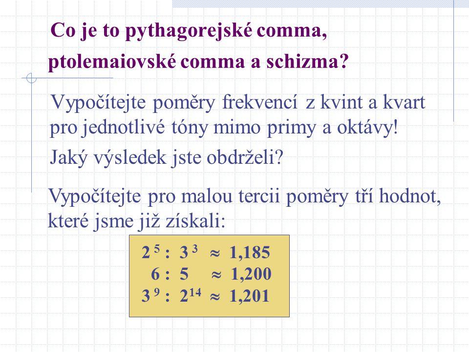 Co je to pythagorejské comma, ptolemaiovské comma a schizma? Vypočítejte poměry frekvencí z kvint a kvart pro jednotlivé tóny mimo primy a oktávy! Jak