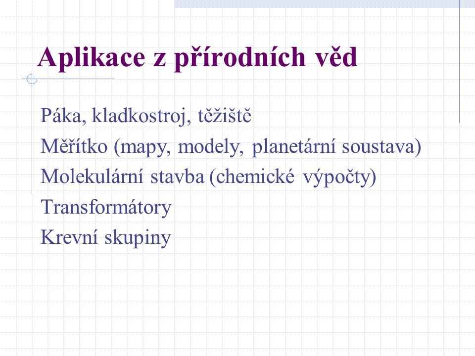Aplikace z přírodních věd Páka, kladkostroj, těžiště Měřítko (mapy, modely, planetární soustava) Molekulární stavba (chemické výpočty) Transformátory