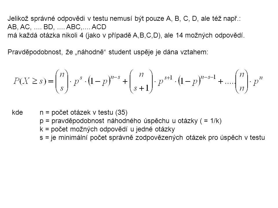 Jelikož správné odpovědi v testu nemusí být pouze A, B, C, D, ale též např.: AB, AC,.... BD,.... ABC,.... ACD má každá otázka nikoli 4 (jako v případě