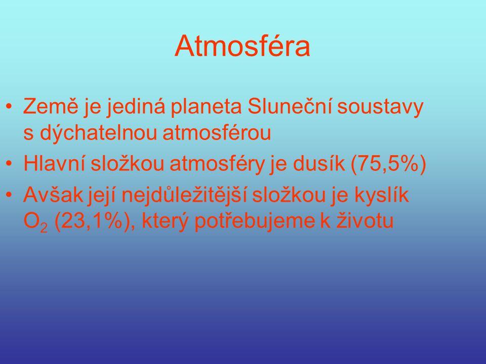 Číselné údaje Průměr Země je 12 756 km Rotační osa Země je skloněná o 23° Hustota je 5 515 kg/m 3, tedy nejvyšší ve Sluneční soustavě Doba oběhu kolem