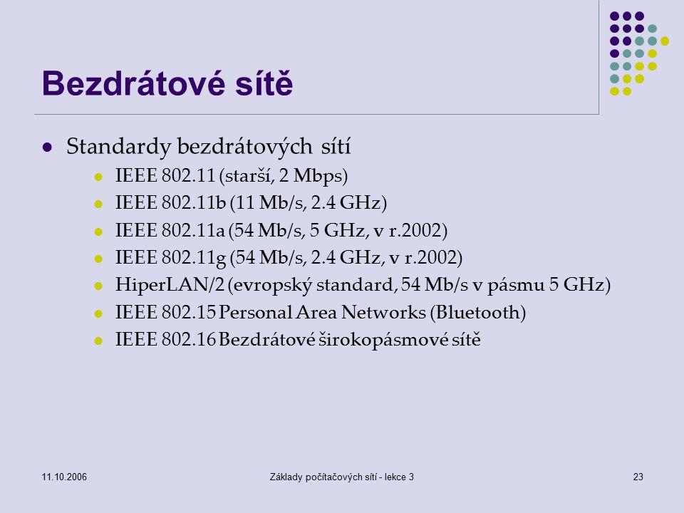 11.10.2006Základy počítačových sítí - lekce 323 Bezdrátové sítě Standardy bezdrátových sítí IEEE 802.11 (starší, 2 Mbps) IEEE 802.11b (11 Mb/s, 2.4 GHz) IEEE 802.11a (54 Mb/s, 5 GHz, v r.2002) IEEE 802.11g (54 Mb/s, 2.4 GHz, v r.2002) HiperLAN/2 (evropský standard, 54 Mb/s v pásmu 5 GHz) IEEE 802.15 Personal Area Networks (Bluetooth) IEEE 802.16 Bezdrátové širokopásmové sítě