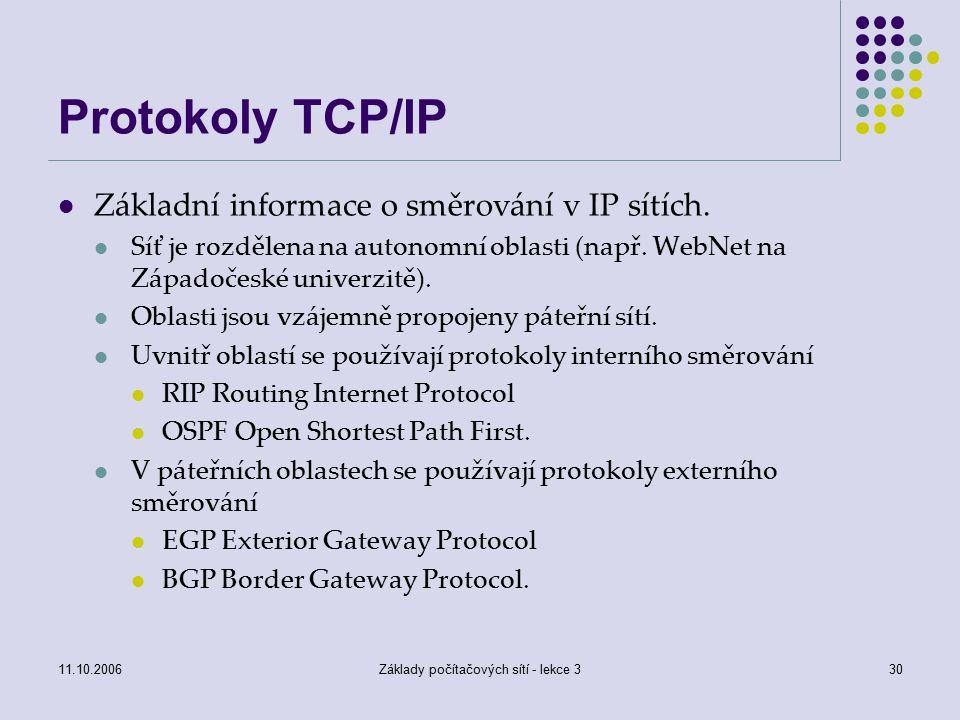 11.10.2006Základy počítačových sítí - lekce 330 Protokoly TCP/IP Základní informace o směrování v IP sítích.
