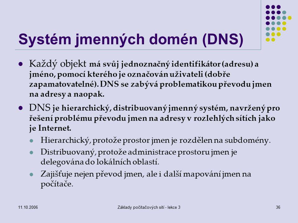 11.10.2006Základy počítačových sítí - lekce 336 Systém jmenných domén (DNS) Každý objekt má svůj jednoznačný identifikátor (adresu) a jméno, pomocí kterého je označován uživateli (dobře zapamatovatelné).