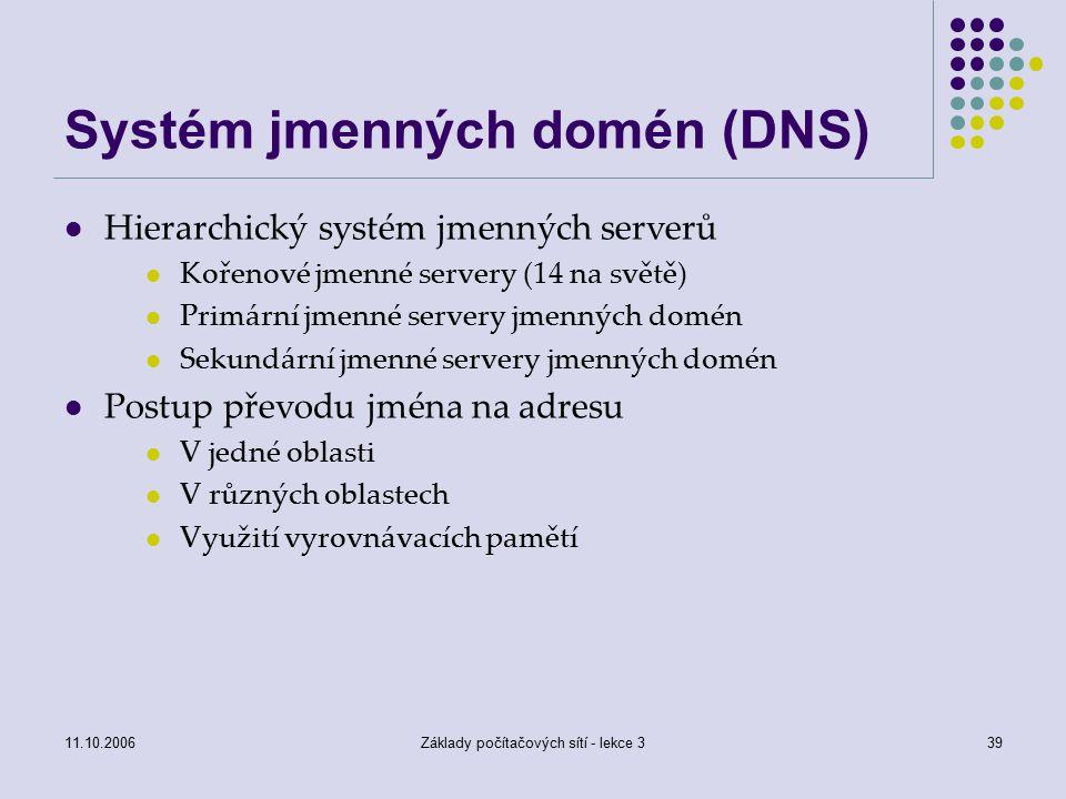 11.10.2006Základy počítačových sítí - lekce 339 Systém jmenných domén (DNS) Hierarchický systém jmenných serverů Kořenové jmenné servery (14 na světě) Primární jmenné servery jmenných domén Sekundární jmenné servery jmenných domén Postup převodu jména na adresu V jedné oblasti V různých oblastech Využití vyrovnávacích pamětí