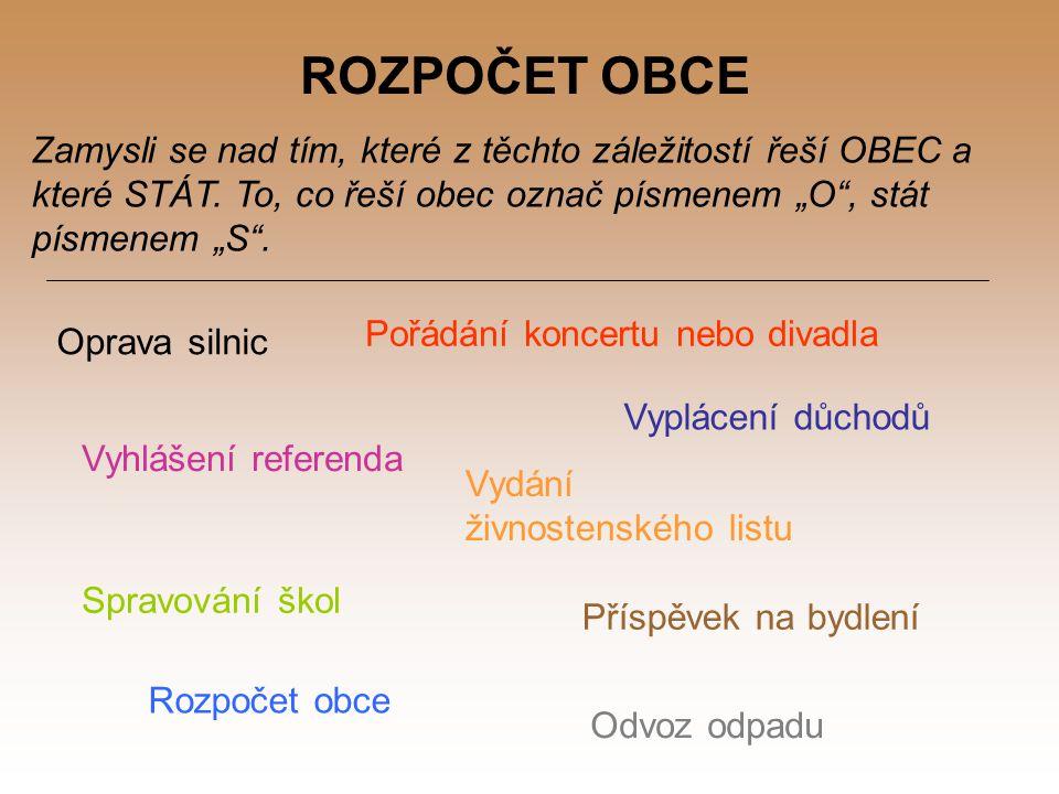ROZPOČET OBCE Zamysli se nad tím, které z těchto záležitostí řeší OBEC a které STÁT.
