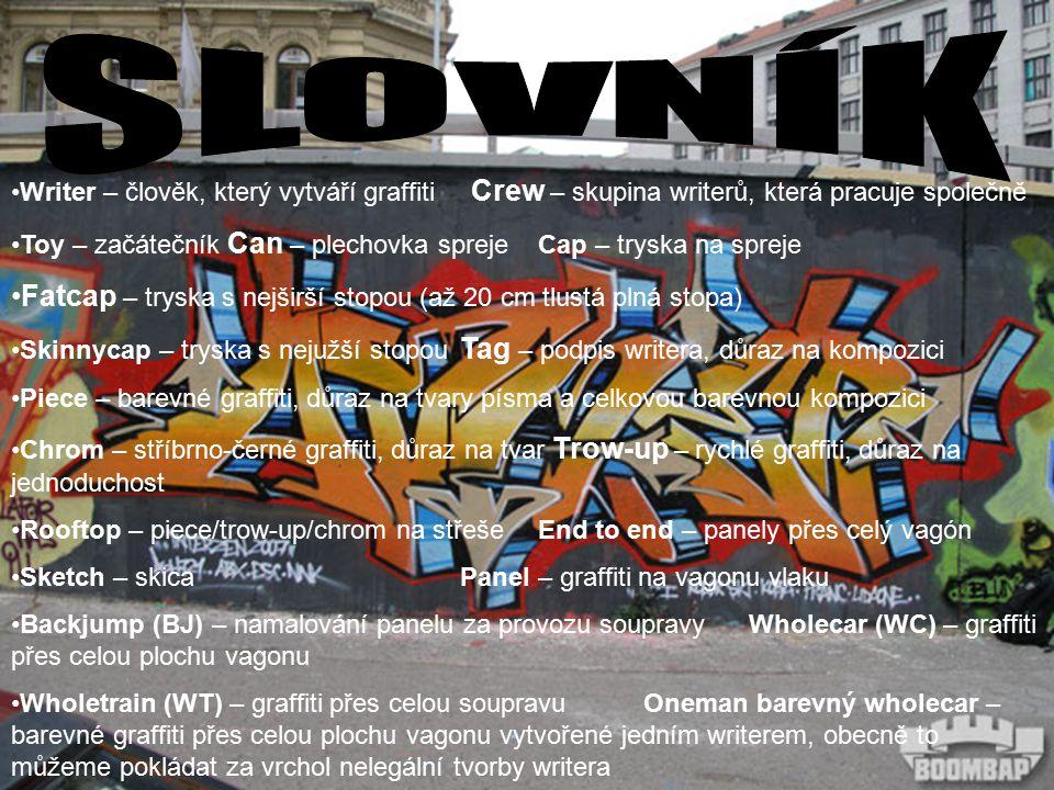 Writer – člověk, který vytváří graffiti Crew – skupina writerů, která pracuje společně Toy – začátečník Can – plechovka sprejeCap – tryska na spreje Fatcap – tryska s nejširší stopou (až 20 cm tlustá plná stopa) Skinnycap – tryska s nejužší stopou Tag – podpis writera, důraz na kompozici Piece – barevné graffiti, důraz na tvary písma a celkovou barevnou kompozici Chrom – stříbrno-černé graffiti, důraz na tvar Trow-up – rychlé graffiti, důraz na jednoduchost Rooftop – piece/trow-up/chrom na střešeEnd to end – panely přes celý vagón Sketch – skicaPanel – graffiti na vagonu vlaku Backjump (BJ) – namalování panelu za provozu soupravyWholecar (WC) – graffiti přes celou plochu vagonu Wholetrain (WT) – graffiti přes celou soupravuOneman barevný wholecar – barevné graffiti přes celou plochu vagonu vytvořené jedním writerem, obecně to můžeme pokládat za vrchol nelegální tvorby writera